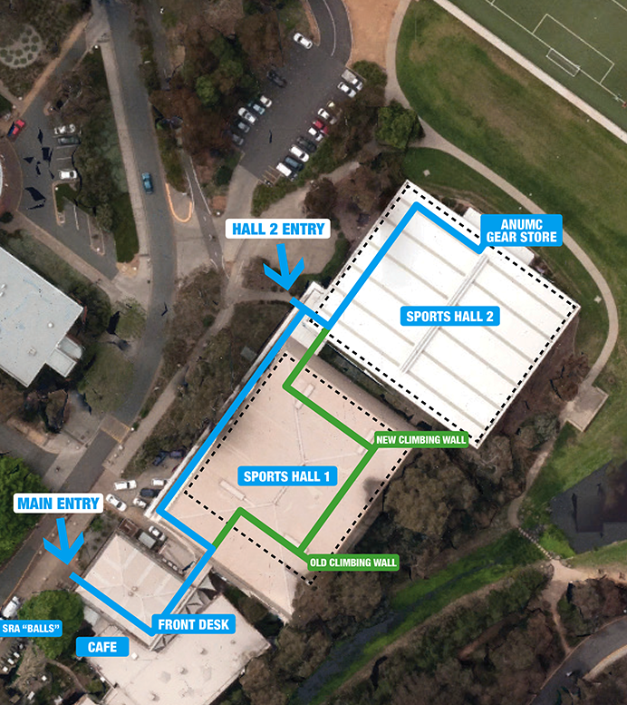 Aerial photo showing location of ANUMC gear store (see text for directions)